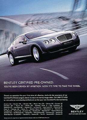 2007 Bentley Continental GT - preowned  -  Classic Vintage Advertisement Ad D10