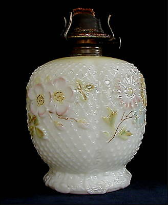 Consolidated Glass Milk Glass Cosmos Pattern Lamp