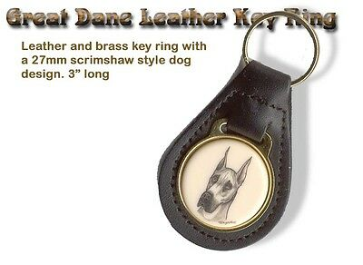 GREAT DANE Brass and Leather Dog KEY RING
