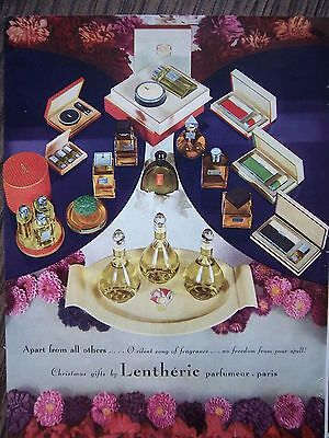 1934 Vintage LENTHERIC Perfume Bottles Lipstick Cosmetic Christmas Gift Color ad