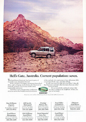 1997 Land Rover Discovery - Hell's gate -  Classic Vintage Advertisement Ad D14