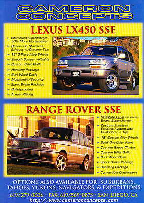 1998 Cameron Concepts Lexus LX450 and Range Rover Vintage Advertisement Ad D14