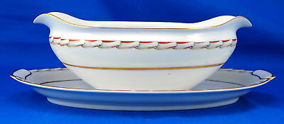 Mikado MAGNOLIA Gravy Boat and Attached Underplate 8.5 in. Pink White Flowers