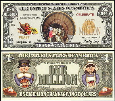TURKEY MILLION DOLLAR NOVELTY BILL for THANKSGIVING FUN - Lot of 2 BILLS