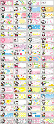 64 Mini Hello Kitty Cat Personalised Name Labels Stickers stationery Pen pencil