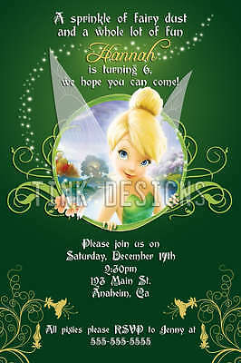 Tinkerbell fairy invitation birthday party favors