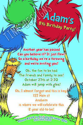 LORAX birthday invitation party favor dr. Seuss