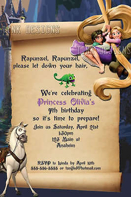 Tangled Rupunzel invitation birthday party favor