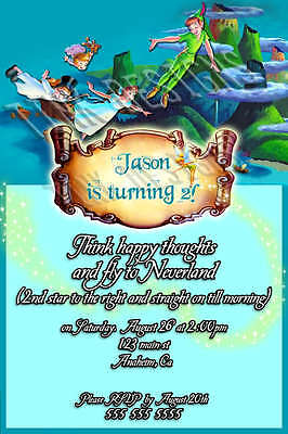 Custom invitations Peter Pan Tinkerbell Birthday party