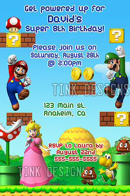 Super Mario Bros. Luiji invitations birthday party favor