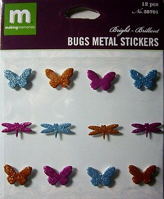 NEW 12 PC BUGS METAL STICKERS BRIGHT 3D Glitter Butterfly MAKING MEMORIES