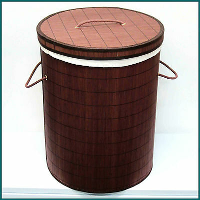 LARGE BAMBOO LAUNDRY HAMPER - Clothes Basket (Brand New)