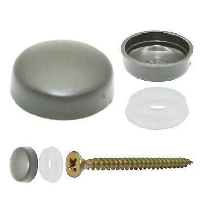 50 x SMALL SILVER GREY TWO PIECE DOME SCREW CAP COVERS SNAP CAPS PRO-DEC FIXINGS