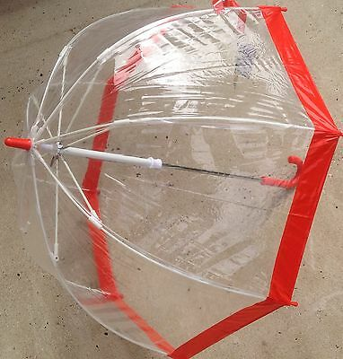 Childrens Kids Clear Bird Cage Dome Transparent Umbrella with Red Trim