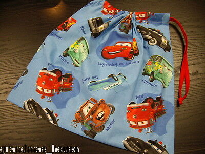 Library Bag Disney Cars Mater Blue Drawstring Tote Books Swimming Sleepover