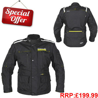 MENS Waterproof Motorcycle Motorbike JACKET CE Armoured Textile Adjustable Waist