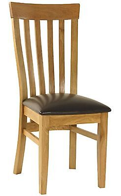Portland Solid Oak Furniture Set Of Six Brown Leather Slatted Dining Chairs