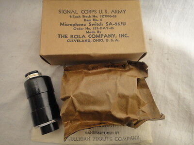 US Army Signal Corps WWII Microphone Switch SA-26/U VTG 1945 Radio Parts SEALED
