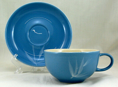Winfield BLUE PACIFIC Flat Cup and Saucer Set 2.25 in. White Bamboo Leaves USA