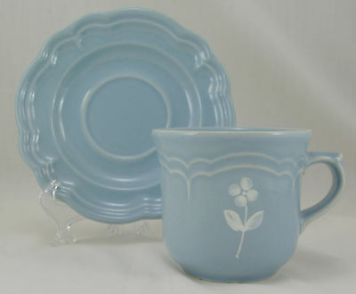 Pfaltzgraff BOUQUET Flat Cup and Saucer Set 3.25 in. Blue White Flowers USA