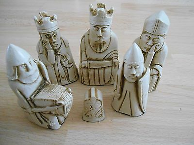 Isle of Lewis Fantasy Model Resin Chess Set in Teak (brown) & Ivory effect