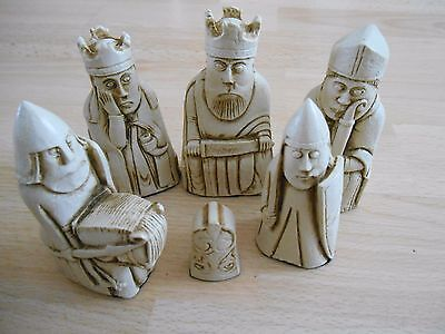 Isle of Lewis Fantasy Model Resin Chess Set - Teak & Ivory effect