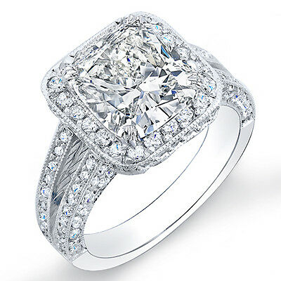 2.13 Ct. Cushion Cut & Round Pave Diamond Halo Engagement Ring 14K G,VS2 GIA