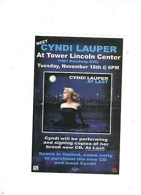 "Cyndi Lauper ""At Last""  Appearance Flyer Lot From 2003"