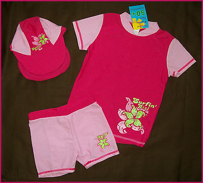 GIRLS 3 Pc RASHI SWIMWEAR  Sz 2 3 4 5 - TOGS - Rash Top + Shorts & Hat Set - NEW