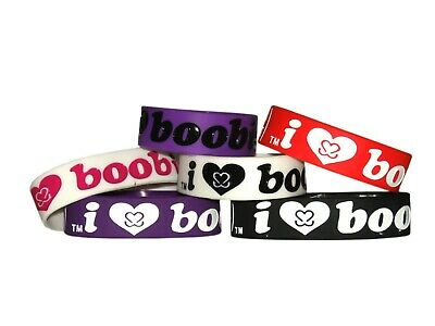 Brand New I Love Boobies Silicone Wristband Bracelet Imported