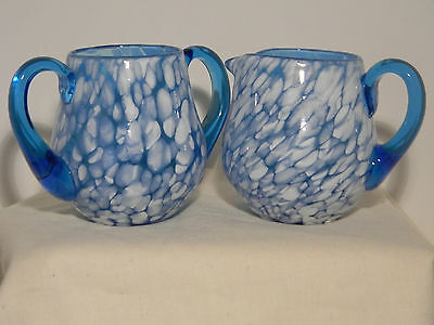 Spatter Glass Blue n white Sugar and Creamer over 3 inches high  (1379)