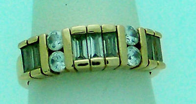 Striking Estate Cubic Zirconia Sterling Silver Vermeil Band Ring, Size 7