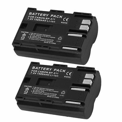 2 PACK BP-511 Battery for CANON Digital Rebel EOS 300D