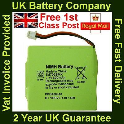 New BT Verve 410/450 Cordless Phone Battery NiMH 2.4V 600mAh GP 5M702BMX UK