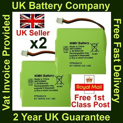 2 x BT Verve 410/450 Twin Cordless Phone Batteries NiMH 2.4V 600mAh GP 5M702BMX