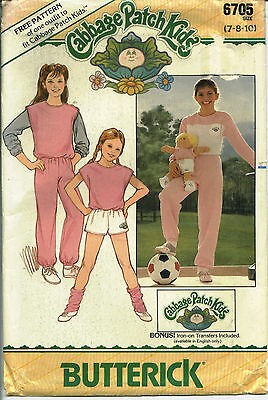 B 6705 sewing pattern TOP SHORTS VEST PANTS Cabbage Patch DOLL CLOTHES Transfers