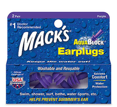 Mack's AquaBlock Earplugs for Swimming (Purple)