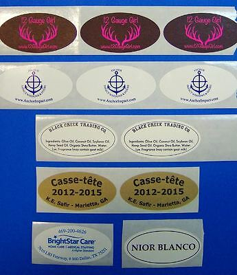 "Printed Oval Labels, 250 Custom 1-Color Business Stickers, 1"" x 2"", on a roll"