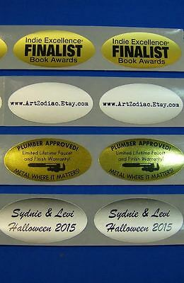 "Printed Oval Labels, 250 Custom Business Stickers 1-Color Ink,  1-1/4"" x 2-1/2"""