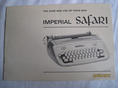 Instructions typewriter IMPERIAL SAFARI 'The care & use of your' CD/Email