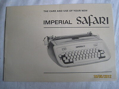 Instructions typewriter IMPERIAL SAFARI 'The care & use of your'