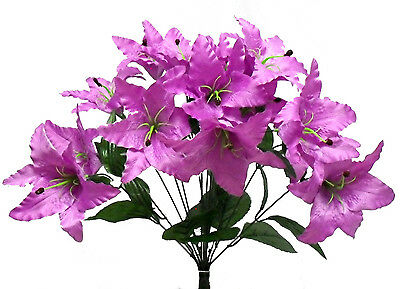 14 Tiger Lilies Lily ~ LAVENDER LILAC ~ Silk Wedding Flowers Bridal Centerpieces