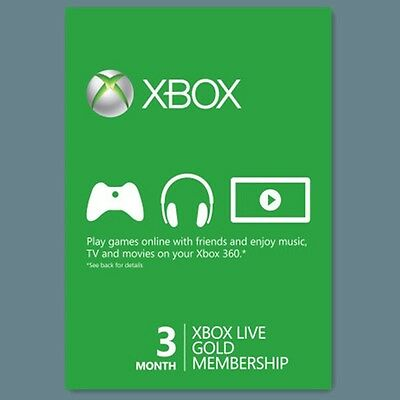 Xbox One 360 Live Gold Mitgliedschaft 3 Monate Monat 3 Month Code Card Per Email