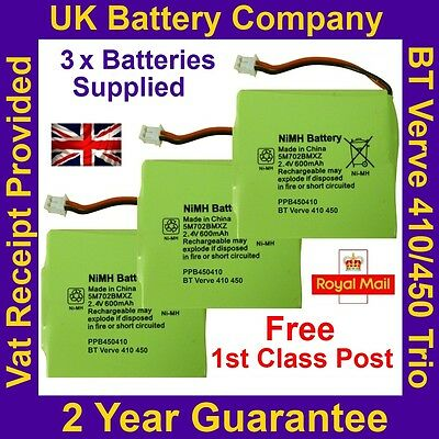 3 x New BT Verve 410 / 450 Trio Phone Batteries UK GP 5M702BMXZ 2.4V 600mAh NiMH