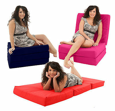 Fold Out Adult Cube Guest Z Bed Chair CUBE Single Futon pouffe stool Chairbed