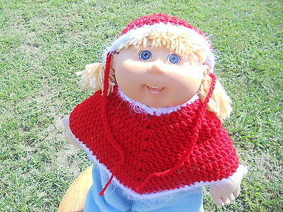 Crochet Cabbage Patch Doll Clothes~~Poncho/Beanie/Shoes Set~Handmade