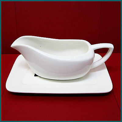 PORCELAIN GRAVY BOAT / SERVING JUG With Matching Plate - Large 320ml (Brand New)