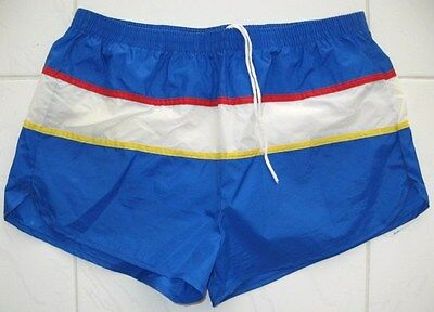 HERMANS WORLD OF SPORTING GOODS NYLON SWIM SUIT TRICOLOR DESIGN Vintage 70'S XL