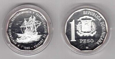 DOMINICAN REPUBLICA  - RARE SILVER PROOF 1 PESO COIN 1989 YEAR KM#74a 500th ANNI