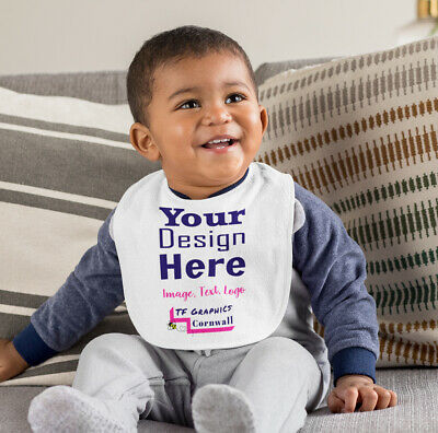 Design your Own Custom Baby Bib -  Double Layered Velcro Fastening - 3 Colours